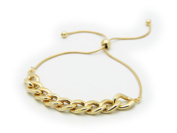 Gold Plated Sterling Silver Rounded Cuban Link Chain Bracelet, Adjustable - Presidential Brand (R)