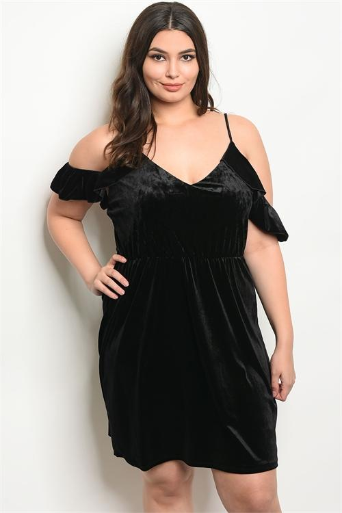 Women's Plus Size Black Short Sleeve Velvet Cold Shoulder Dress(6 pcs/ Bundle) - Presidential Brand (R)