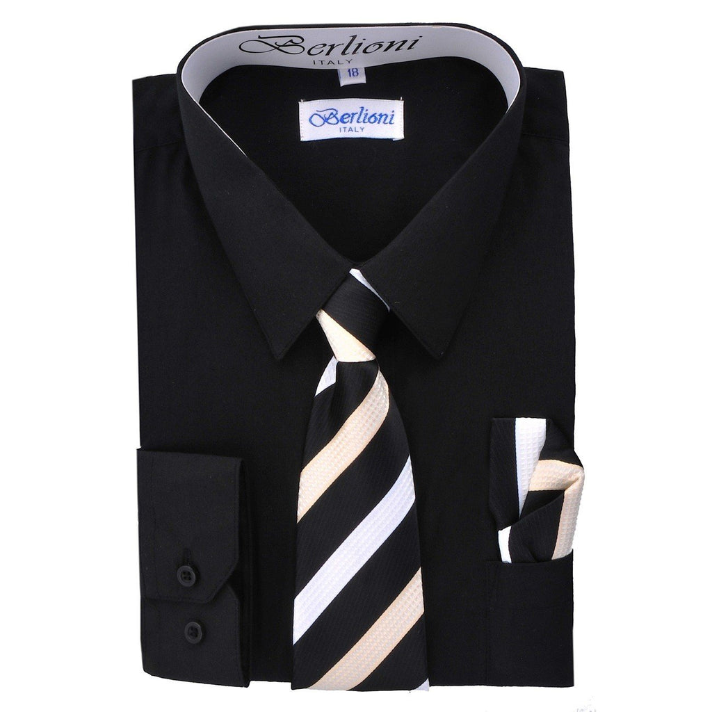 Boy's Dress Shirt/Necktie/Hanky N725-Black