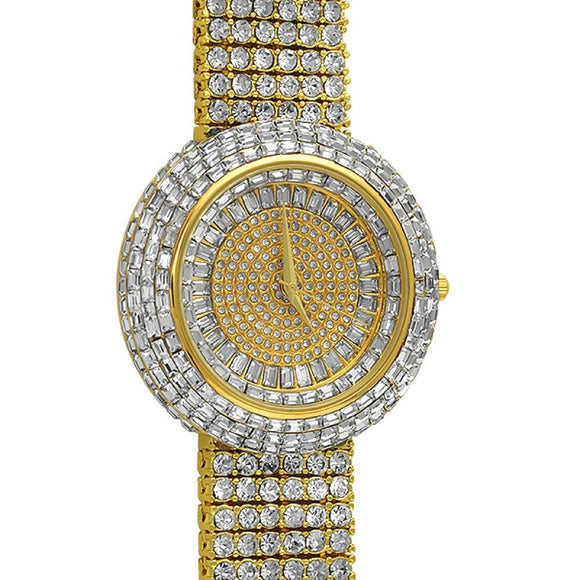 Custom Gold Iced Out Baguette Orbit 6 Row Watch - Presidential Brand (R)