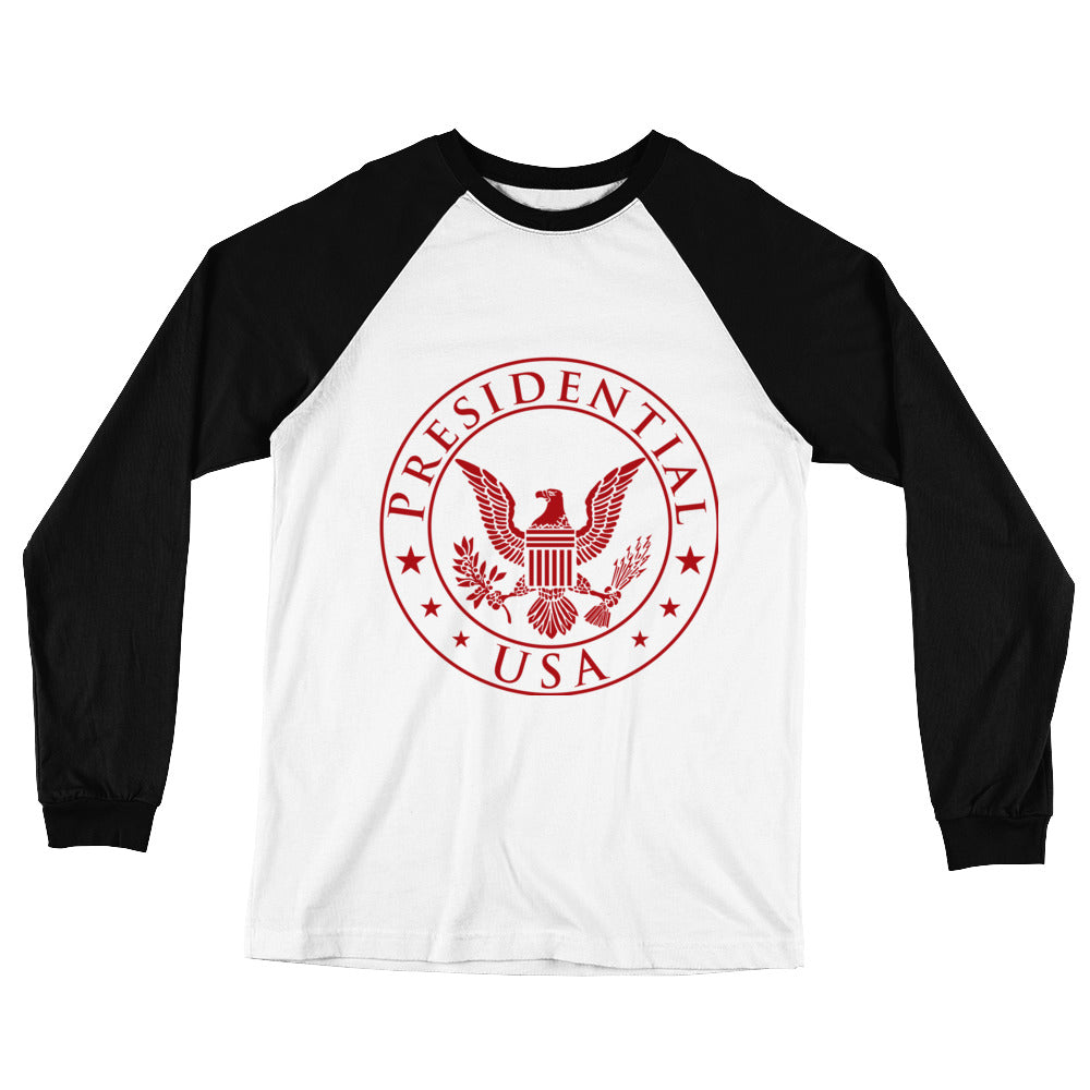 Presidential USA Badge Red Long Sleeve Baseball T-Shirt