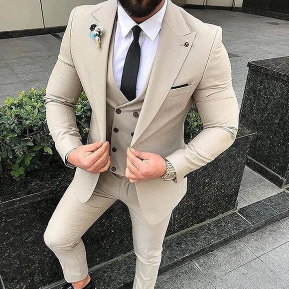 Slim Fit Beige 3 Piece Suit Men Wedding Tuxedos Bridegroom Groomsmen Suits Men Business Party Prom Blazer(Jacket+Pants+ Tie+Vest - Presidential Brand (R)