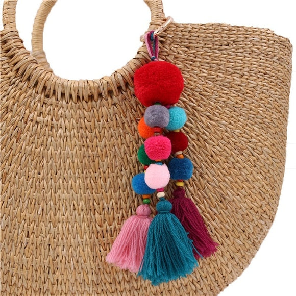 Bead Handbag Tassel Key Chain Pompom Key Ring Holder Hanging Bohemian Style Pendant Keychain Decoration - Presidential Brand (R)