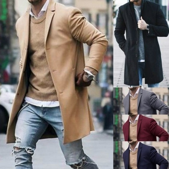 Trench Coat Slim Fit Long Sleeve Cardigans Blend Coat Solid Long Wool Coat - Presidential Brand (R)