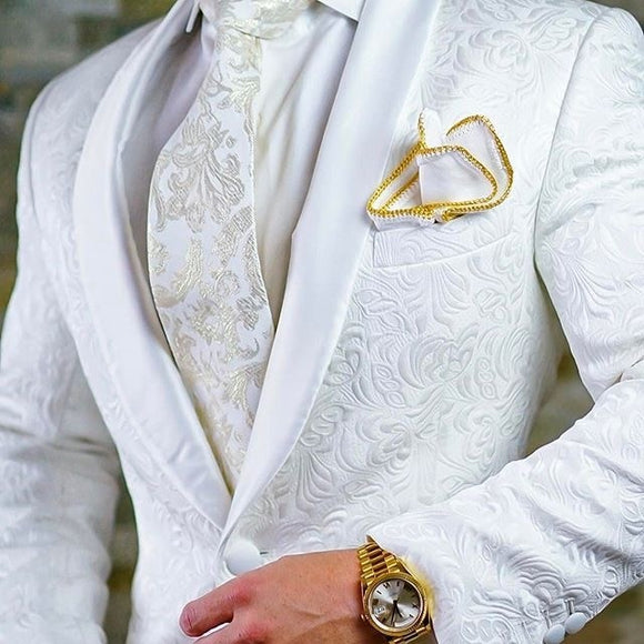 High Quality One Button White Paisley Groom Tuxedos Shawl Lapel Groomsmen Mens Suits Blazers (Jacket+Pants+Tie) W:715 - Presidential Brand (R)