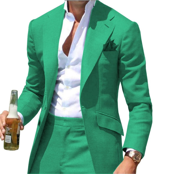 Peak Causal Slim Fit Notched Label Green Mens suit Blazer Formal Business For Wedding Groom Causal (Only Jacket) - Presidential Brand (R)