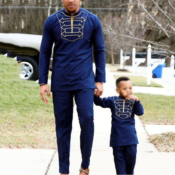 african clothes long sleeve t shirt pants suit for male father son dashiki embroidery clothing party wears 2020 - Presidential Brand (R)