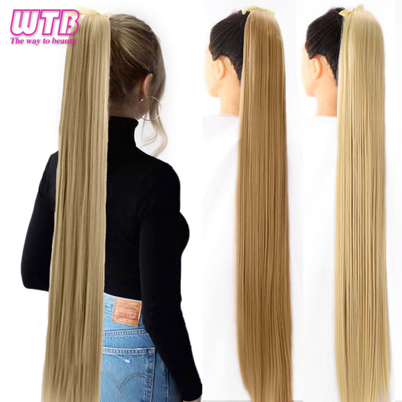 Ponytail Hairpieces WTB Long Silky Straight Drawstring Clip In Hair Tail False Hair 80cm Hair Extensions - Presidential Brand (R)