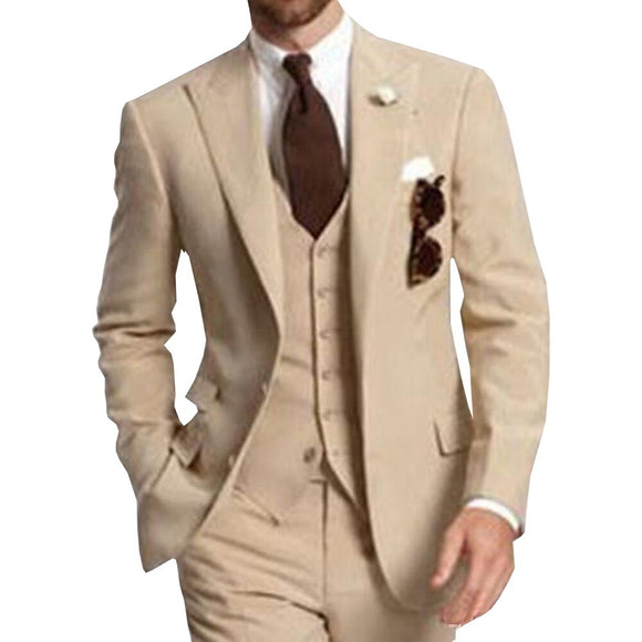 Beige Three Piece Business Party Best Men Suits Peaked Lapel Two Button Custom Made Wedding Groom Tuxedos 2020 Jacket Pants Vest - Presidential Brand (R)
