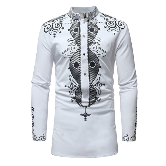 African Tribal Dashiki Longline Shirt 2020 Brand New Long Sleeve Mandarin Collar Dress Shirt Men African Clothing Camisa Hombre - Presidential Brand (R)