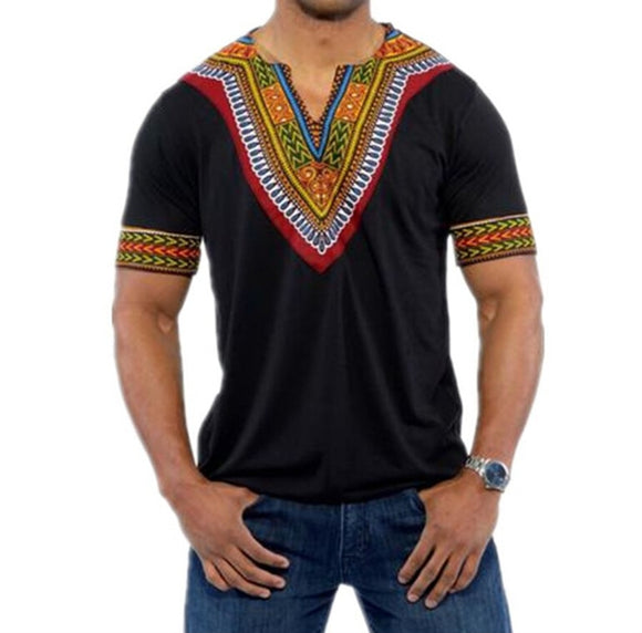 Mens African Dashiki Dress Casual Short Sleeve T Shirt - Presidential Brand (R)