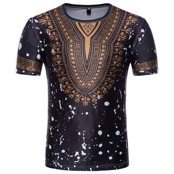 Men Short Sleeve T-shirt Men African Clothes 2020 Fashion Splash Ink African Dashiki Print Dress Shirt Streetwear Tops Tees XXL - Presidential Brand (R)