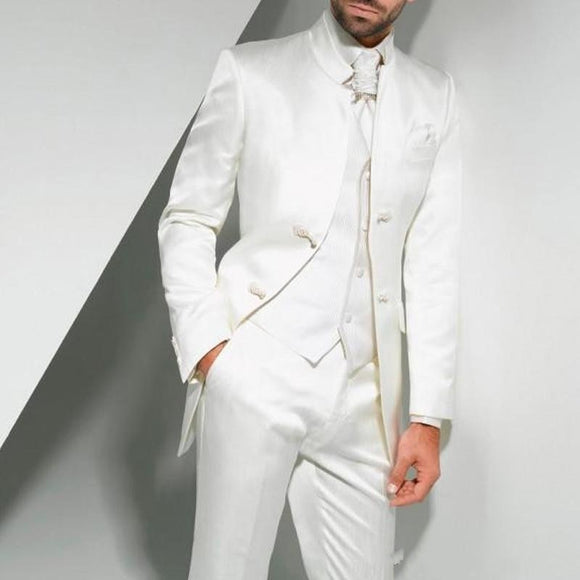 Vintage Long White Long Wedding Tuxedos for Groom 2018 Three Piece Custom Made Formal Men Suits (Jacket + Pants + Vest) terno - Presidential Brand (R)