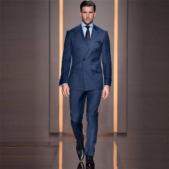 Italian Style Tailor Make Groom Tuxedos Double Breasted Slim Fit Mens Wedding Party Suits Bridegroom Suits Blazer (Jacket+Pant) - Presidential Brand (R)