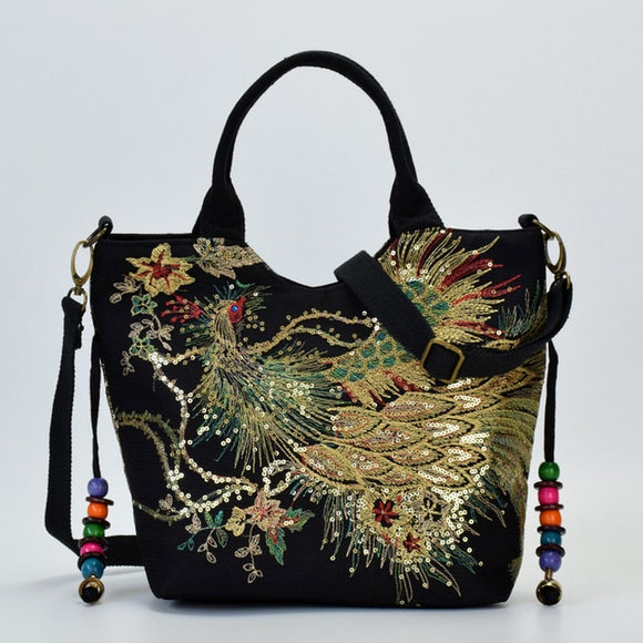 Shiny Peacock Embroidered Tote Bag Retro Casual Large Handbag Shoulder Belt - Presidential Brand (R)