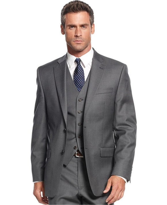 Grey Casual Men Wedding Tuxedos Formal Custom Online Three Piece Fall Outside Business Office Suits Party (Jacket+Pants+Vest) - Presidential Brand (R)