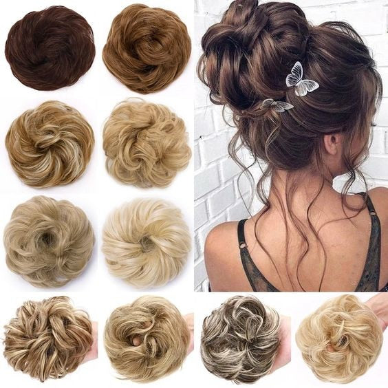 Synthetic Messy Hair Bun elastic chignon with elastic band hairpieces for women hair donut bun - Presidential Brand (R)