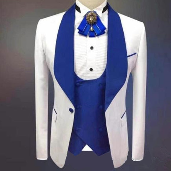 New Arrival One Button Groomsmen Shawl Lapel Groom Tuxedos Men Suits Wedding/Prom Best Blazer ( Jacket+Pants+Vest+Tie)A93 - Presidential Brand (R)