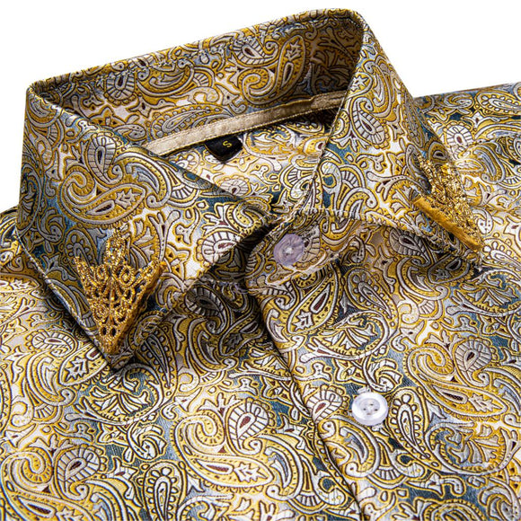 Brand New Fashion Paisley Men Shirt Business Casual Long Sleeve Silk Shirts Slim Fit Male Social Dress Shirts Collar Pin DiBanGu - Presidential Brand (R)