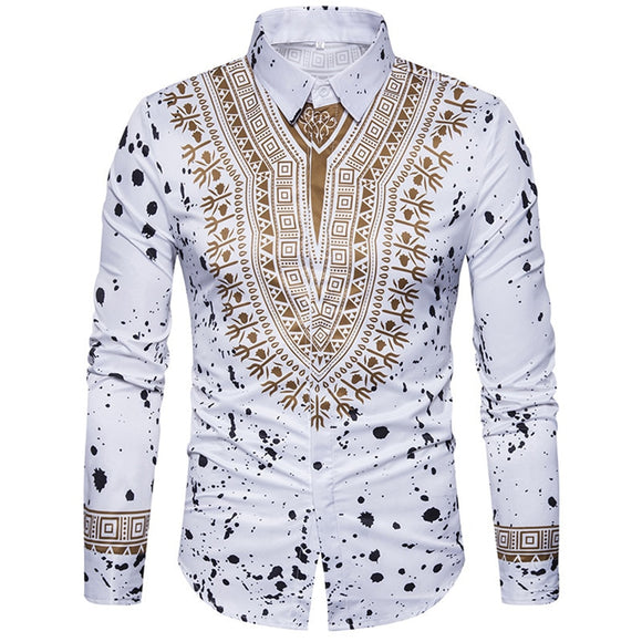 2020 African Dresses for Man Shirt Long Sleeve Autumn Winter Print Bazin Traditional Africa Clothes Fashions Maxi Men's Shirt - Presidential Brand (R)