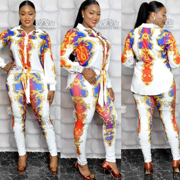African Clothes For Lady Fashion Shirt Top and Elastic Pants Suit Chiffon Dress XFTZ08# - Presidential Brand (R)