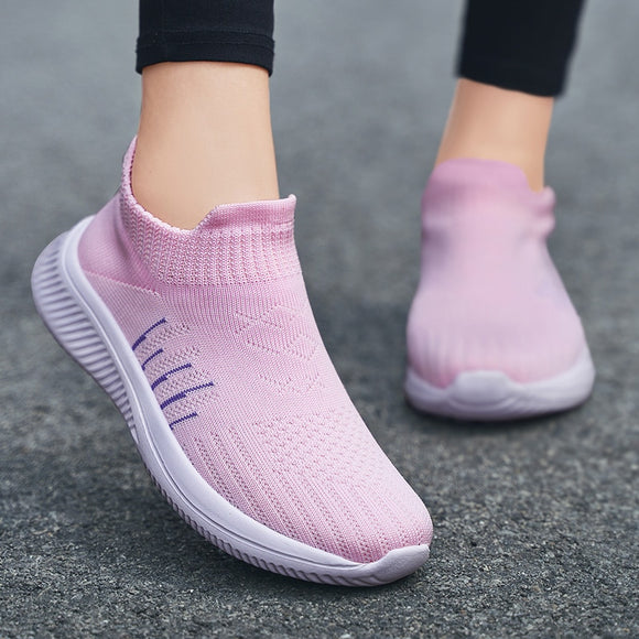 Fashion Women Slip-on Sneakers 36-42 Plus Size  Running Shoes For Woman Comfort Breathable Mesh Sneakers Pink Sports Shoes - Presidential Brand (R)