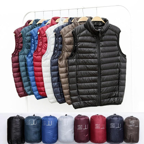 Men Duck Down Vest Coat - Ultralight Sleeveless Puffer Vest Jacket Fashion Stand Collar Windproof Duck Down Waistcoat - Presidential Brand (R)