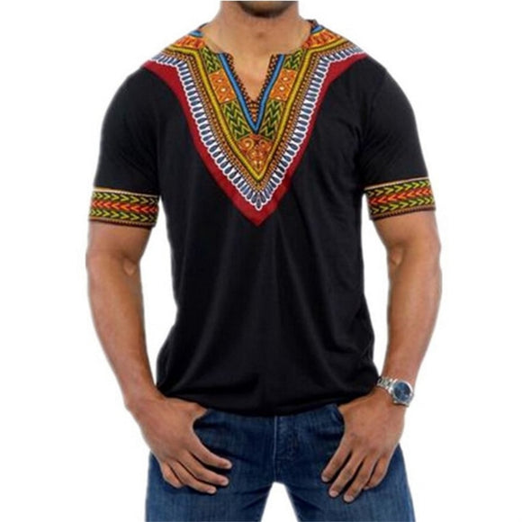 6Color 2020 Fashion Summer Men Top African Clothing Africa Dashiki Dress Print Rich bazin Casual Short Sleeve T Shirt for Mans - Presidential Brand (R)