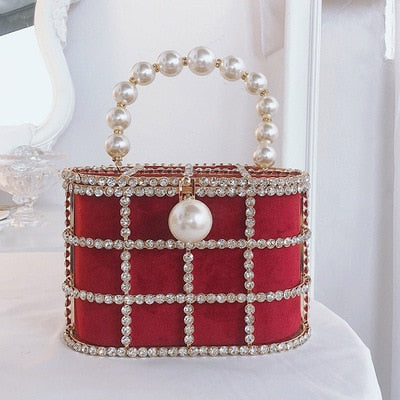 Pearl Diamond Basket Clutch Bag Luxury Hollow Out Pearl Beaded Metallic Cage - Presidential Brand (R)