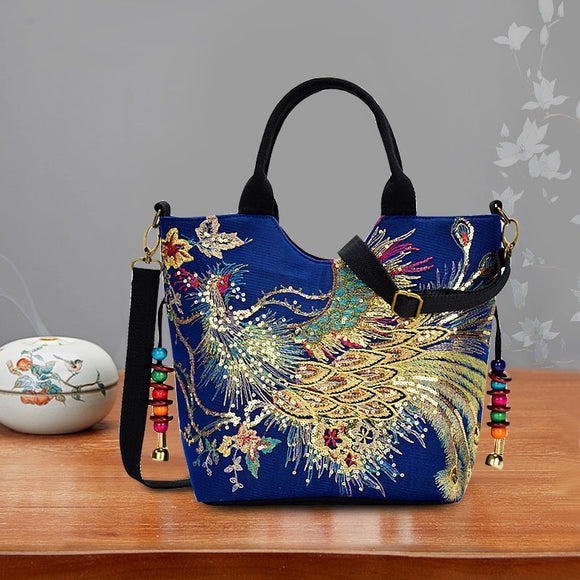 Shoulder Bag Handmade Embroidery Peacock Bohemia Style Retro Large Capacity Tote Messenger Bag - Presidential Brand (R)