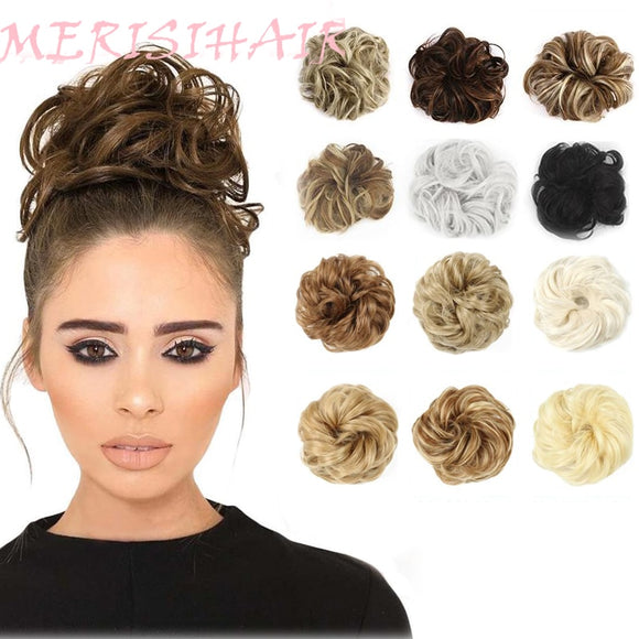 MERISIHAIR Girls Curly Scrunchie Chignon With Rubber Band Brown Gray Synthetic Hair Ring Wrap On Messy Bun Ponytails - Presidential Brand (R)
