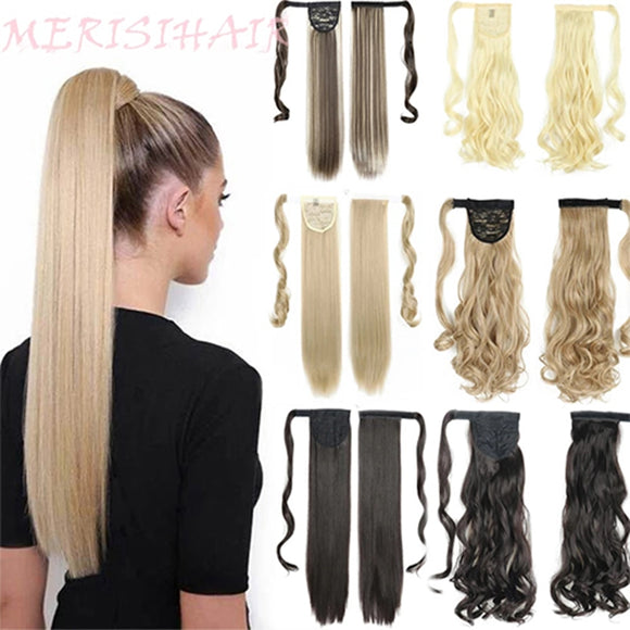 MERISIHAIR Long Straight Wrap Around Clip In Ponytail Hair Extension Heat Resistant Synthetic Pony Tail Fake Hair - Presidential Brand (R)