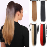 Long Straight Clip In Tail False Hair Ponytail Hairpiece With Hairpins Synthetic Pony Tail Extensions Black Brown Headwear - Presidential Brand (R)