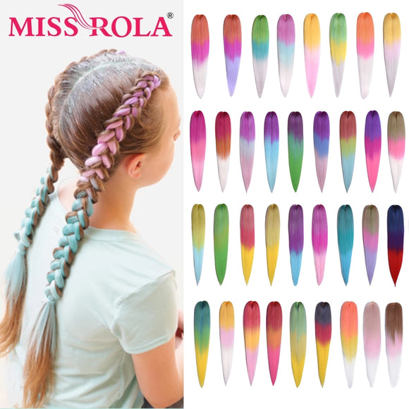 Miss Rola 24 Inches100g Yaki Straight Synthetic Hair Extension Pre Stretched Blonde Pink Jumbo Braids Wholesale Kanekalon Hair - Presidential Brand (R)