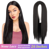 AISI HAIR Long Straight Black Wig Synthetic Wigs for Women Natural Middle Part Wig Heat Resistant Fiber Natural Looking Wig