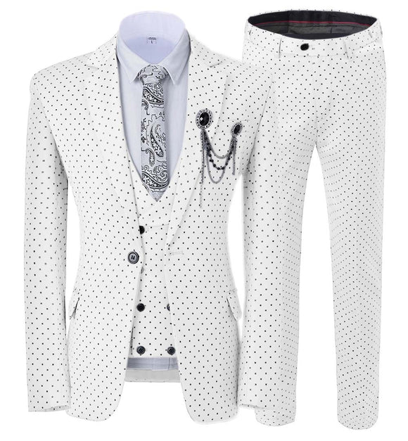 Mens suits Wave point Three Pieces Men Dress Suits Casual Commuter office business suits For Wedding(Blazer+Vest+Pants) - Presidential Brand (R)