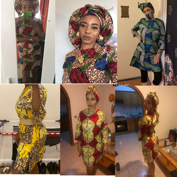 2021 African Print Dress Outfit For Women Dashiki Top Shirts+Headwrap+mask Headband Traditional Party Dress Plus Size - Presidential Brand (R)