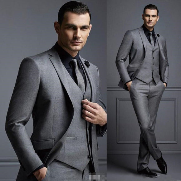 New Grey Mens Suit Groom Suit Cheap Formal Man Suits for Wedding Best Men Slim Fit Groom Tuxedos for Man(Jacket+Vest+Pants)terno - Presidential Brand (R)