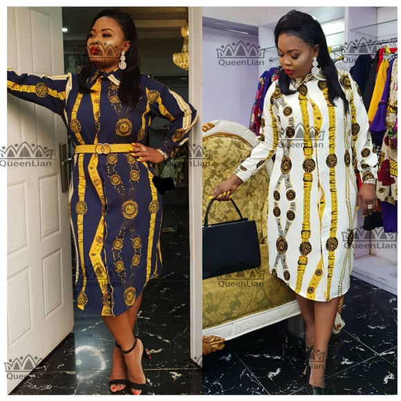 Size L-3XL  2019 African Dress Print Shirt-Collar Skirt  Big Elastic For Women (ZC07#) - Presidential Brand (R)