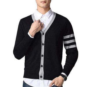 Mens Cardigan with Stripes - Presidential Brand (R)