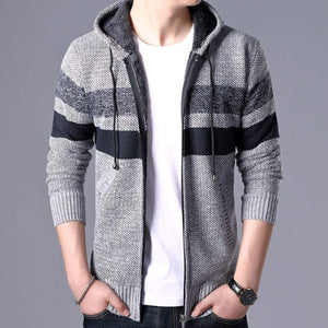 Mens Striped Knit Cardigan with Hood - Presidential Brand (R)