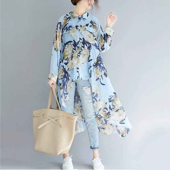 Womens Uneven Long Chiffon Shirt with Prints