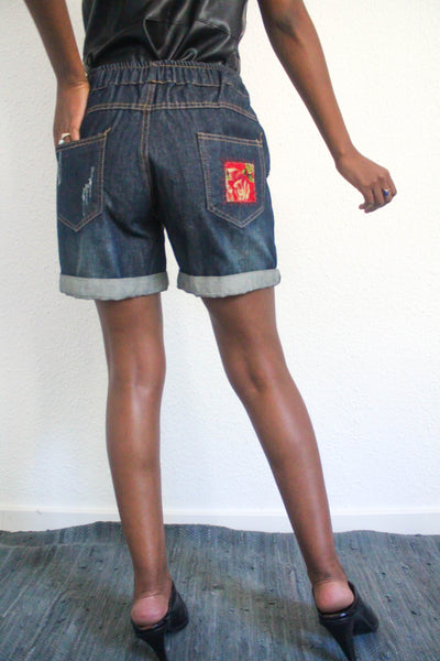 Volcan Embroidered Denim Shorts