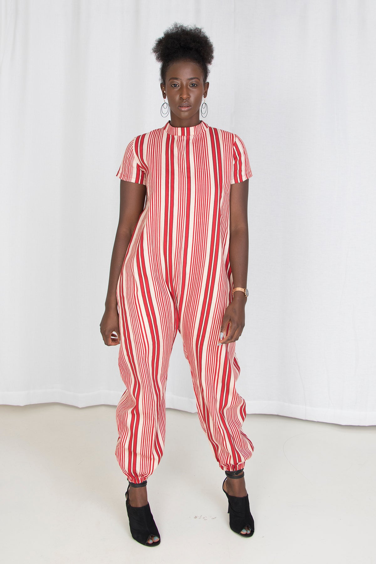 Cool Cat Striped Jumpsuit