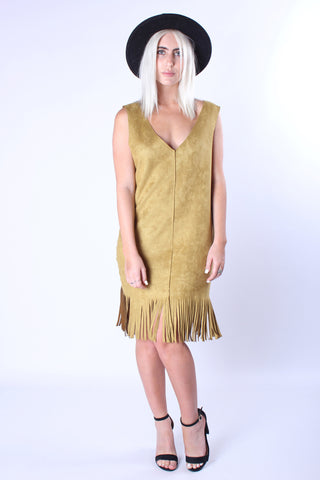 Twist and Shout Suede Dress - Mustard