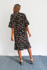 Cranes Printed Dress - Dark