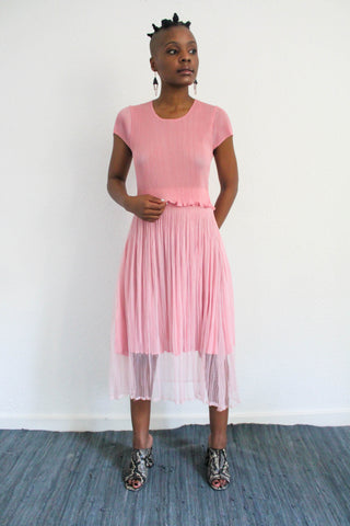 The City Pleated Dress - Pink