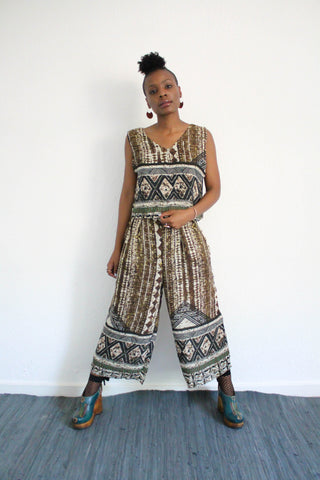Africana Printed Jumpsuit - Multi Green
