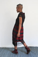 The City Pleated Dress - Black and Red