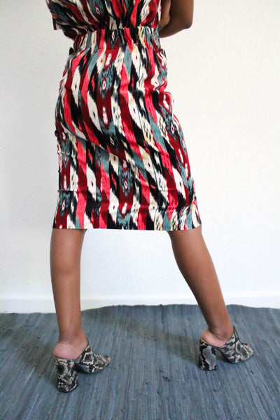 Livvin Printed Corduroy Skirt - Multi Red